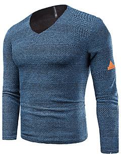 tanie Męskie swetry i swetry rozpinane-Męskie Rozmiar plus Weekend Okrągły dekolt Szczupła Pulower Jendolity kolor Prążki Długi rękaw