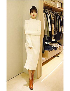Women's Casual/Daily Work Vintage Simple Long Pullover,Solid Turtleneck Long Sleeves Cotton Fall Winter Thick Micro-elastic