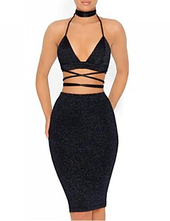 Women's Holiday Club Casual Sexy Street chic Summer Fall Tank Top Skirt Suits,Solid Sexy Halter Backless Micro-elastic