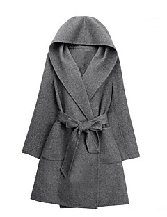 Women's Going out Work Vintage Sophisticated Winter Fall Coat,Solid Hooded Regular Wool Others