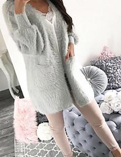 baratos Suéteres de Mulher-Mulheres Diário Moda de Rua Sólido Manga Longa Longo Carregam, Decote V Outono / Inverno Cinzento / Khaki M / L / XL