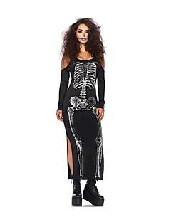 billige Voksenkostymer-Skjelett / Kranium Ghostly Bride Kjoler Dame Halloween De dødes dag Festival / høytid Halloween-kostymer Svart Vintage
