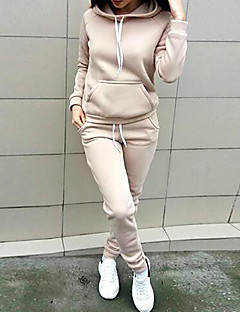 お買い得  レディースツーピースセット-女性用 パーカー ソリッド ハイライズ パンツ フード付き