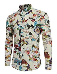 billige Herremote og klær-Bomull Lin Tynn Klassisk krage Skjorte - Blomstret, Trykt mønster Vintage Chinoiserie Bohem Fest Helg Herre