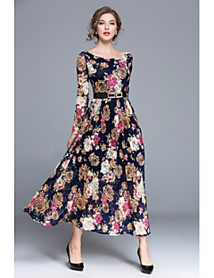 Women's Party Daily Casual Boho A Line Dress,Floral Boat Neck Maxi Long Sleeves Acrylic Polyester High Waist Inelastic Medium