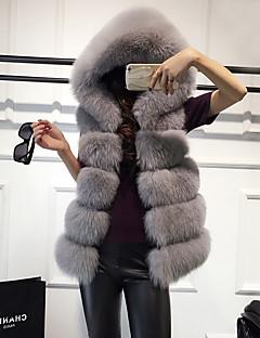 Dámské Jednobarevné Běžné/Denní Jednoduchý Kamizelka-Zima Umělá kožešina Kapuce Bez rukávů Standardní