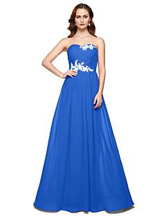 billige Kjoler i plusstørrelse-A-linje Kjære Gulvlang Chiffon Formell kveld Kjole med Perlearbeid Plissert av TS Couture®