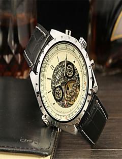 Jaragar Herrn Armbanduhren für den Alltag Modeuhr Kleideruhr Armbanduhr Automatikaufzug Kalender Leder Band Freizeit Cool