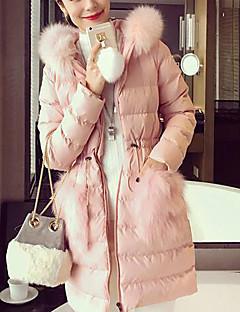 Damen Gefüttert Mantel Einfach Lässig/Alltäglich Solide-Baumwolle Andere Baumwolle Langarm