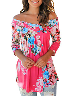 cheap -Women's Going out Boho Cotton Loose Shirt Print Off Shoulder