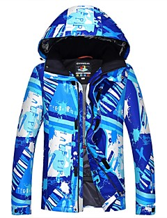 billiga Skid- och snowboardkläder-Herr Skidjacka Varm, Vattentät, Håller värmen Camping / Skidåkning / Backcountry Polyester Vinterjacka Skidkläder