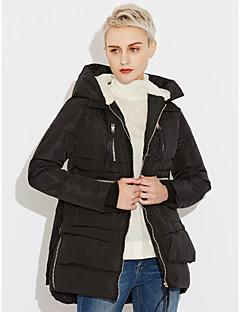 Χαμηλού Κόστους Γούνινο παλτό με κουκούλα-Γυναικεία Μεγάλα Μεγέθη Εξόδου Ενεργό Φαρδιά Βαμβάκι Πουπουλένιο - Μονόχρωμο / Ριγέ, Στάμπα / Χειμώνας
