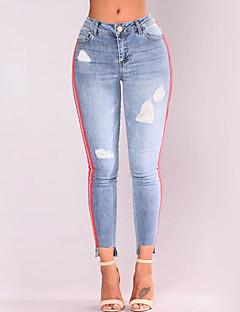 cheap AW 19 Trends-Women's Street chic Plus Size Cotton Skinny Pants - Color Block Hole Light Blue