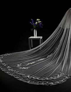 cheap Wedding Veils-Two-tier Cut Edge Lace Applique Edge Modern Wedding Veil Cathedral Veils Headpiece 53 Appliques Lace Tulle