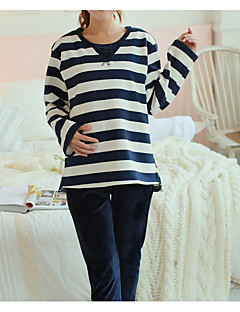 Women's Suits Pajamas,Striped Cotton Polyester Black Gray