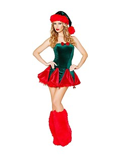 billige julen Kostymer-Nisse drakter Mrs.Claus Drakter Dame Jul Festival / høytid Halloween-kostymer Rød Sexy dame
