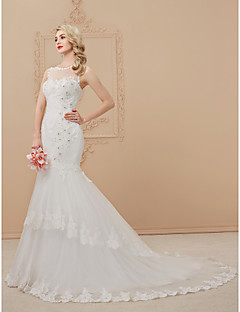 Mermaid / Trumpet Illusion Neckline Court Train Tulle Wedding Dress with Crystal by DRRS
