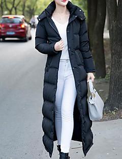 Damen Daunen Mantel,Lang Einfach Lässig/Alltäglich Solide-Baumwolle Polypropylen Langarm Schwarz Mit Kapuze