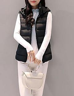 Damen Daunen Mantel Einfach Retro Ausgehen Solide-Polyester Polyester Polypropylen Langarm
