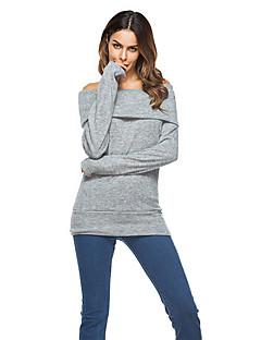 Feminino Camiseta Feriado Casual Sensual Moda de Rua Inverno Primavera/Outono,Sólido Vintage Algodão Ecológico Poliéster Decote Canoa