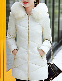 Women's Regular Padded Coat,Street chic Daily Going out Solid-Cotton Polypropylene Long Sleeves