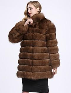 レディース お出かけ 冬 ファーコート,シンプル ソリッド レギュラー フォックスファー 長袖