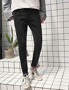billige Herrebukser og -shorts-Herre Fritid Chinos Jeans Bukser Ensfarget