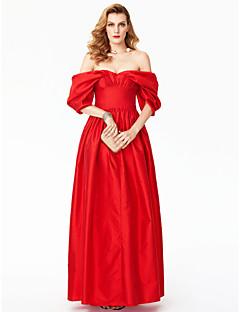 A-vonalú Hercegnő Földig érő Szatén Hivatalos estély Ruha val vel Rakott által TS Couture®