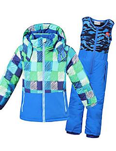 Phibee Детские Лыжная куртка и брюки Прогулки Теплый Быстровысыхающий С защитой от ветра Дожденепроницаемый Водонепроницаемая молния