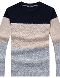 Men's Daily Regular Pullover,Color Block Round Neck Long Sleeves Cotton Medium Micro-elastic