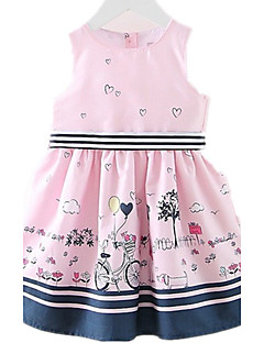 cheap Kids' New Ins-Girl's Daily Going out Holiday Dress, Cotton Spring Summer Sleeveless Cartoon Blushing Pink