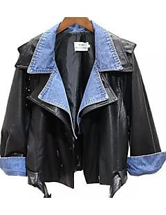 レディース カジュアル/普段着 秋 冬 レザージャケット,ストリートファッション Vネック ソリッド ショート 合成皮革 長袖