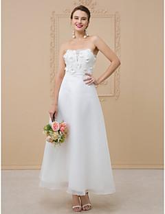 cheap Reception Dresses-A-Line Strapless Ankle Length Organza / Floral Lace Made-To-Measure Wedding Dresses with Sashes / Ribbons / Flower by LAN TING BRIDE®