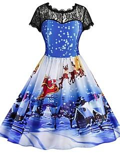billige julen Kostymer-Kvinnelig Julkjole Cosplay Blå Kortermet