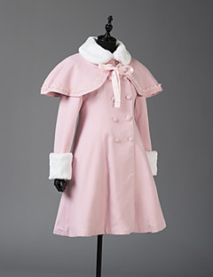 Coat Steampunk® Coats Vintage Style British Cosplay Lolita Dress Pink Long Sleeves Coat For Wool Woolen