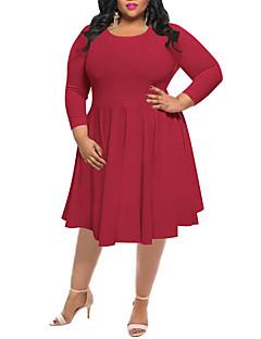 Для женщин На каждый день Большие размеры Простой Уличный стиль Оболочка Платье Однотонный,Круглый вырез Средней длины Длинный рукав
