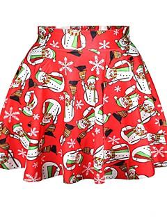 billige julen Kostymer-Snømann Skjørt Kvinnelig Jul Festival / høytid Halloween-kostymer Rød Printer