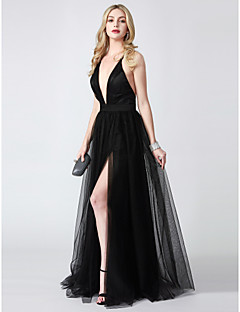 cheap -A-Line Princess Plunging Neckline Floor Length Tulle Formal Evening Dress with Split Front by TS Couture®