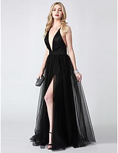 billiga Aftonklänningar-A-linje Dunkel halsringning Golvlång Tyll Formell kväll / Smokinggala Klänning med Delad framsida av TS Couture® / Vacker rygg