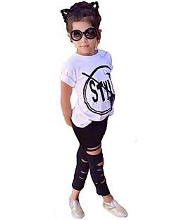 billige Tøjsæt til piger-Pige Tøjsæt Simpel Citater & udtryk, Bomuld Akryl Spandex Alle årstider Kortærmet Sødt Afslappet Aktiv Hvid