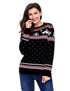 baratos Suéteres de Mulher-Mulheres Feriado Manga Longa Pulôver Estampado