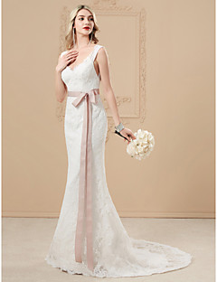 billiga Brudklänningar-Trumpet / sjöjungfru V-hals Svepsläp Spets på satin Bröllopsklänningar tillverkade med Applikationsbroderi / Rosett(er) / Knappar av LAN TING BRIDE® / Öppen Rygg