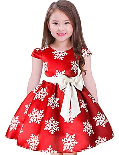 Girl's Floral Dress,Cotton Polyester Short Sleeves