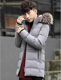 Men's Padded Coat,Simple Casual/Daily Solid-Polyester Long Sleeves