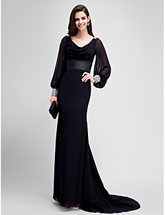 Τρομπέτα / Γοργόνα Ντραπέ Ουρά μέτριου μήκους Ζορζέτα Επίσημο Βραδινό Φόρεμα με Χάντρες Ζώνη / Κορδέλα με TS Couture®