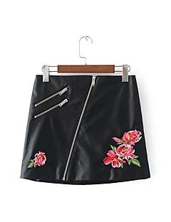 Women's Going out Casual/Daily Above Knee Skirts,Cute Street chic A Line Embroidered Solid Spring Fall