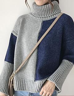 baratos Suéteres de Mulher-Mulheres Manga Longa Pulôver - Estampa Colorida / Gola Alta / Outono