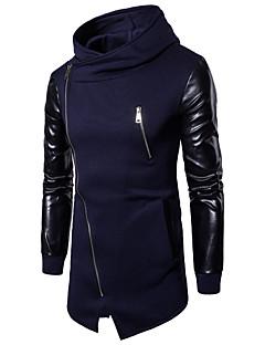 cheap Men's Hoodies & Sweatshirts-Men's Basic / Punk & Gothic Long Sleeve Slim Hoodie - Color Block Hooded Black L