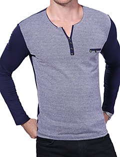 Bomull Spandex Medium Langermet,Rund hals T-skjorte Fargeblokk Alle årstider Sexy Fritid/hverdag Plusstørrelser Herre