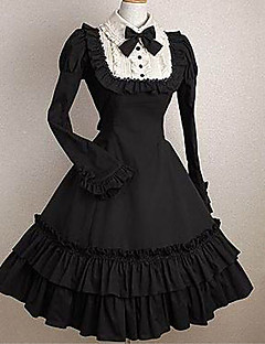 One Piece Dress Classic/Traditional Lolita Elegant Princess Cosplay Lolita Dress Black Solid Color Fashion Cap Short Sleeves Short / Mini